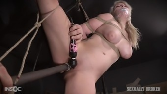 Certain And Gagged Plus Sized Girl Fucked Through A Big Dildo