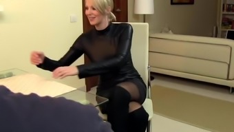 Sexy Companion Cara Fucked In Leather-Based And Semen On Dress