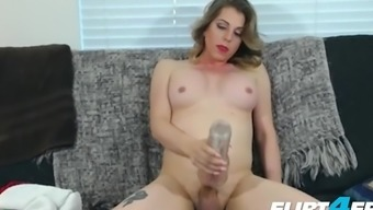Sexy Flirt4free Trans Model - Tyra Scott - Strokes Her Big Cock And Spreads Her Ass
