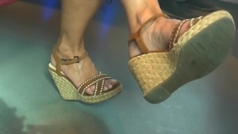Candid Hot Mature Feet In Wedges Heels (Part3)