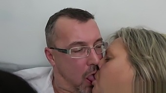 Mature Couple Helps Small Tits Teenie To Strip And Ride Cock