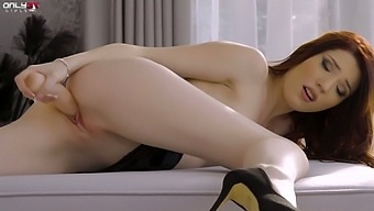 Concupiscent Red Haired Babe Mia Evans Is Toying Pussy Spreading Legs Wide Open