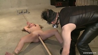 Crucified And Tied Up On The Floor Whore Lilly Ligotage Gets Pussy Masturbated