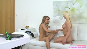 Lesbian Lucy Shine And One More Girl Use A Dildo In The Office