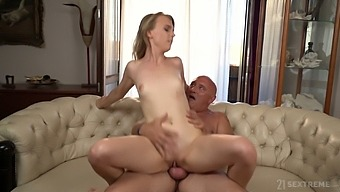 Horny Blonde Housewife Lily Ray Works On Her Bald Hubby'S Strong Cock